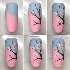 Repost by Reklame// Easy cherry tree 🌸 With buttercream from 🌿 Nail Art Hacks, Nail Art Diy, Diy Nails, Manicure Ideas, Nail Art Designs Videos, Gel Nail Art Designs, Nail Art Tutorials, Nail Art Fleur, Feet Nail Design
