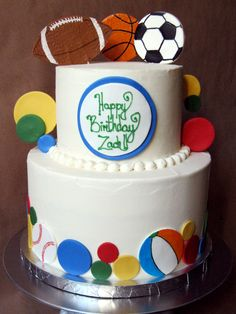 Having a ball themed birthday party!?! This is the cake for you. I put on almost every and any ball I could think... a football, baseball, soccer ball, beach ball, basketball, tennis ball, volleyball, and primary colored balls! #ballcake #sportscake