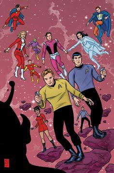 Star Trek & Legion of Superheroes by Mike Allred Star Trek, Comic Book Artists, Comic Books Art, Geeks, Mike Allred, Brian Michael Bendis, Legion Of Superheroes, Comic Art Community, Cultura Pop