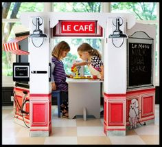 Items similar to Kids Cardboard French Cafe on Etsy Play Spaces, Kid Spaces, Diy Karton, Licht Box, Build A Playhouse, Indoor Playhouse, Deco Kids, Cardboard Toys, French Cafe