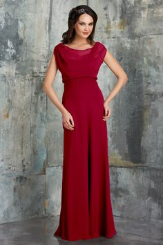 Bari Jay Bridesmaid Dress Style 540 -- Bella Chiffon & Matching Charmeuse. Chiffon boat neck with soft illusion top, pleated waistband with bias skirt. Shown in Berry.
