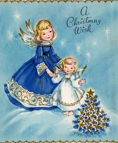 Vintage Christmas Angels card, in blues Vintage Christmas Images, Christmas Scenes, Old Fashioned Christmas, Christmas Past, Retro Christmas, Vintage Holiday, Christmas Pictures, Christmas Wishes, Christmas Angels