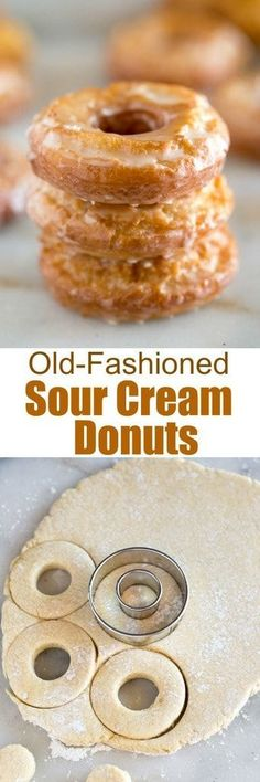 Fashioned Sour Cream Donuts You don't need any fancy equipment or ingredients to make amazing homemade donuts! These old-fashioned sour cream donuts are slightly crisp on the outside and tender in the middle with a simple and delicious donut glaze. Beignets, Delicious Donuts, Delicious Desserts, Yummy Food, Churros, Donut Recipes, Cooking Recipes, Sour Cream Donut, Breakfast Recipes
