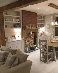 ✨Our dining room✨ Those logs don't actually get used on the fire their 'show logs'😂 but I'm kinda excited to get the log burner going! Country Cottage Living Room, Cottage Lounge, Country Cottage Interiors, Cottage Dining Rooms, Country Cottages, Small Living Rooms, My Living Room, Home And Living, Living Room Decor