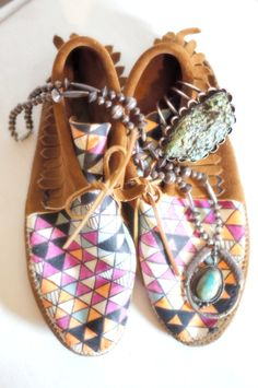Moccasin boots and turquoise xx