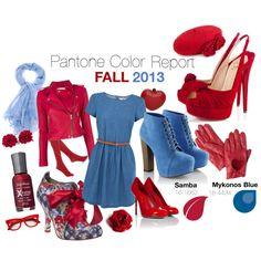 """Pantone Fall 2013 Color Report - Samba & Mykonos Blue"" by ovaryaction on Polyvore #pantone #samba #mykonosblue #fall2013"