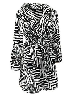 Covington Womens Black  White Zebra Stripes Fleece Robe Short House Coat *** More info could be found at the image url.