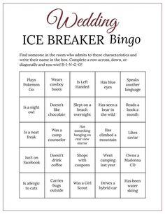 Bridal Shower Ice Breaker Game Wine Wedding Printable Human image 1 Bingo Card Template, Bingo Cards, Printable Cards, Wedding Printable, Free Printables, Blush Bridal Showers, Bridal Shower Games, Ice Breaker Bingo, Human Bingo