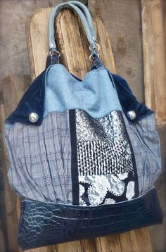 Large Tote Bag on Tweed fabric Leather & patchwork di solgabriel, €107.00