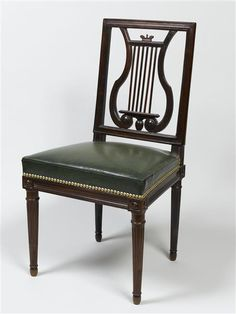 A chair (one of eight surviving chairs) with a lyre-back for the dining room of the Queen's House at the Petit Trianon village. Circa 1785.