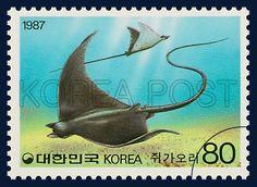 Postage Stamps for Fishes Series(Ⅲ), devilfish, Marine Life, black, blue, 1987 7 25, 어류시리즈(세번째묶음), 1987년7월25일, 1506, 쥐가오리, postage 우표
