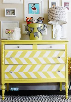 @Sally Sobert maybe something like this on the drawer, it isn't chevron but would provide a nice color pop on that nightstand (also not yellow, color to be determined)