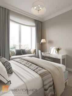 Дизайн спальни в стиле американской неоклассики в ЖК Империал