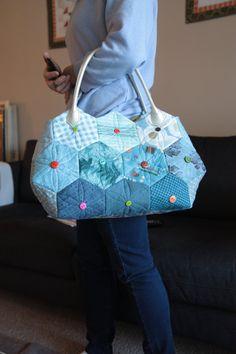 Esagono tote bag Handmade trapuntato di Handmadegenie su Etsy