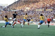 Dundee United's Dave Narey scores with the greatest 'toe poke' in football history against the might Brazil at the 1982 World Cup Finals in Spain. It put Scotland 1-0 in the game, but the glory wasn't to last as Brazil simply moved into another gear and left us nursing a 4-1 defeat at the final whistle.