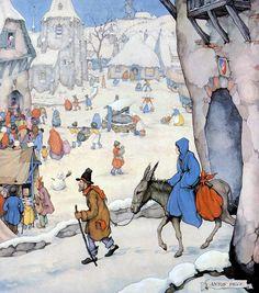"Artist - Anton Pik, the painting ""Winter Plot 3 . Christmas Illustration, Children's Book Illustration, Book Illustrations, Anton Pieck, Dutch Painters, Dutch Artists, Winter Scenes, Cute Cartoon, Illustrators"
