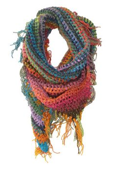 Multi Color, Hand Crocheted Triangle Scarf, 75 inches around by Alexandra Todd Knits.