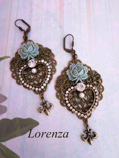 """Boucles style victorien """"fleurs bleues """""""
