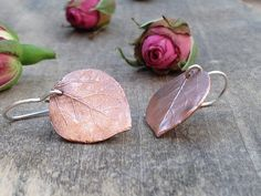 Leaf copper earrings aspen leaf earrings handmade gifts for her handstamped metalwork gift idea birthday gift bridal jewelry gifts