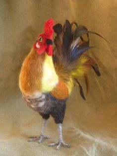 Etsy Transaction - Needle felted rooster - with real feathers