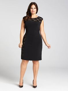 Laura Plus | Sequined Lace Illusion Neck Jersey Dress - Black Pattern