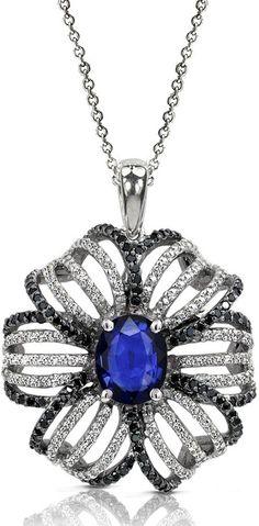 14K White Gold Blue Sapphire and Diamond Pendant