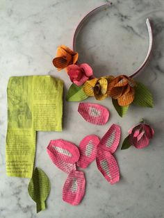 Newspaper roses, flower headband