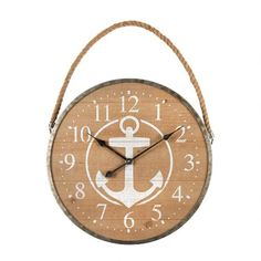 One of my favorite discoveries at ChristmasTreeShops.com: 29' Wood/Metal Anchor Wall Clock with Rope Hanger Diy Wall, Sunroom, Wood And Metal, The Great Outdoors, Anchor, Nautical, Hanger, Clock, Beach