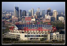 Titans Stadium and Nashville skyline