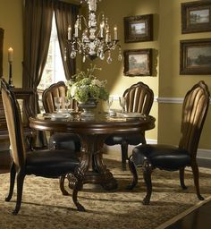 buy palace gate round dining room set aico from mmfurniture steve silver wilson piece espresso Black Round Dining Table, Round Dining Table Sets, Formal Dining Tables, Furniture Sofa Set, Dining Room Furniture, Dining Room Table, Dining Rooms, Furniture Ideas, Furniture Design