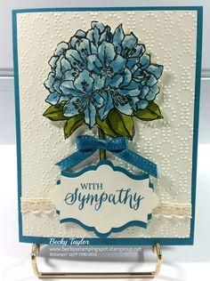 Best Thoughts watercolor, Elegant Dots embossing folder, Rose Wonder sentiment, Stampin' Up!, Sympathy