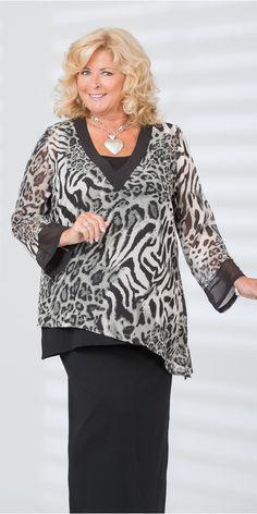 Kasbah black/leopard voile deep v top black trim, vest and skirt at Box 2