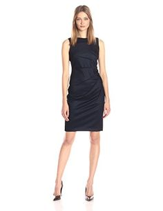 Calvin Klein Womens Sleeveless Denim Scuba Sheath with Starburst Deatil Blue 14 * Read more reviews of the product by visiting the link on the image. (This is an affiliate link) #FashionDresses