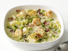 Potato-Leek Soup With Bacon Recipe : Food Network Kitchens : Food Network - FoodNetwork.com
