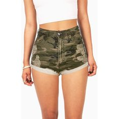 Combat Camo High Waist Shorts ($40) ❤ liked on Polyvore featuring shorts, jean shorts, stretch denim shorts, distressed high waisted shorts, denim shorts and camouflage shorts