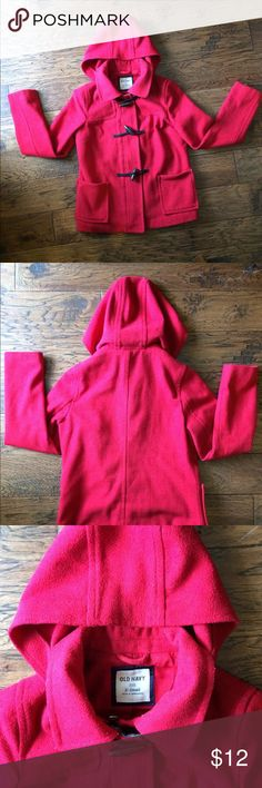 Old Navy Red Pea Coat With Toggles and Zipper Old Navy Pea Coat | Red | X-Small | Hooded | Zipper and Toggles l only selling because it is too small now since having a baby | loved this coat so much! Old Navy Jackets & Coats Pea Coats