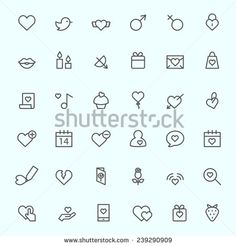 St. Valentine'S Day Icons, Simple And Thin Line Design Ilustración vectorial en stock 239290909 : Shutterstock