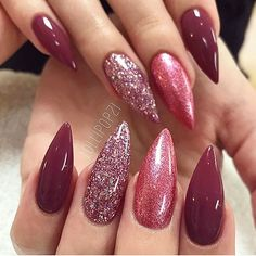 Burgundy purple glitter nails by @lollipopzinails
