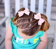 3 Dutch lace braids into pigtails. Inspired by @little_princess_hairstyle and @3littlegirls_hair