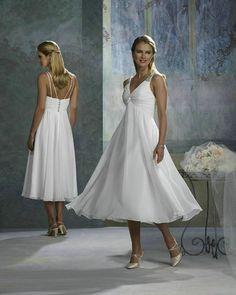 Empire Line Tea Length Wedding Dress