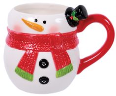 DEI Merry and Bright Snowman Embossed Shaped Mug