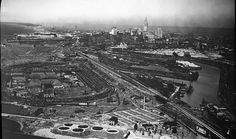 Aerial image of Cleveland skyline, @neorsd Westerly plant in foreground, Cleveland Municipal Stadium in the background, taken sometime in the 1930s.