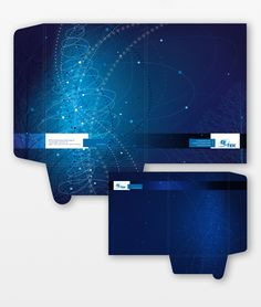 Powerful dark blue and creative light overlays bring this pocket folder to life. Try using a spot varnish for more impact!