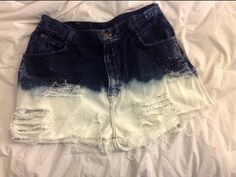 DIY High-Waisted Distressed Bleached Jean Shorts