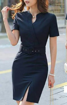 Nice black dress with a belt Teen Girl Fashion, Work Fashion, Fashion Dress Up Games, Fashion Dresses, Casual Work Outfits, Casual Dresses, Office Dresses For Women, Dresses For Work, Mode Für Teenies