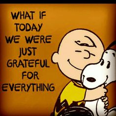 Think every single day what you're grateful for and record it on paper! Charlie Brown and snoopy quote. Gratitude Quotes, Positive Quotes, Motivational Quotes, Funny Quotes, Inspirational Quotes, Thankful Quotes, Happy Quotes, Quotes Quotes, Life Quotes Love