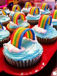 Frosted rainbow cupcakes. If you want your treats to scream for attention then these rainbow inspired cupcake is the best pick for you. Just look at how colorful and festive they look.