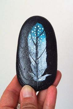Dotted Feather Rock Art Painted Beach Stone by EchidnaArtandCards