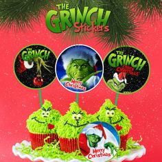 28 Grinch Cupcake Toppers, Grinch Theme, Stickers, Grinch Stickers, Birthday Party, Printable Cupcake Toppers, Instant Download, Kidz Decor