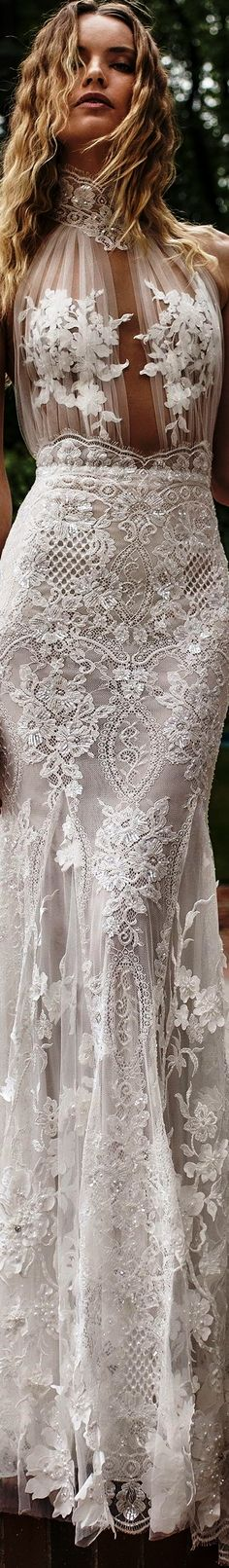 Lian Rokman 2018 bridal halter high neck full embellishment glamorous sexy elegant fit and flare sheath wedding dress keyhole back sweep train